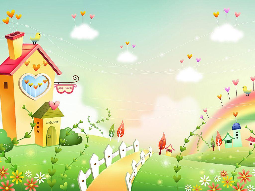 Скачать обои детские обои, домик, птица, сердечки ...