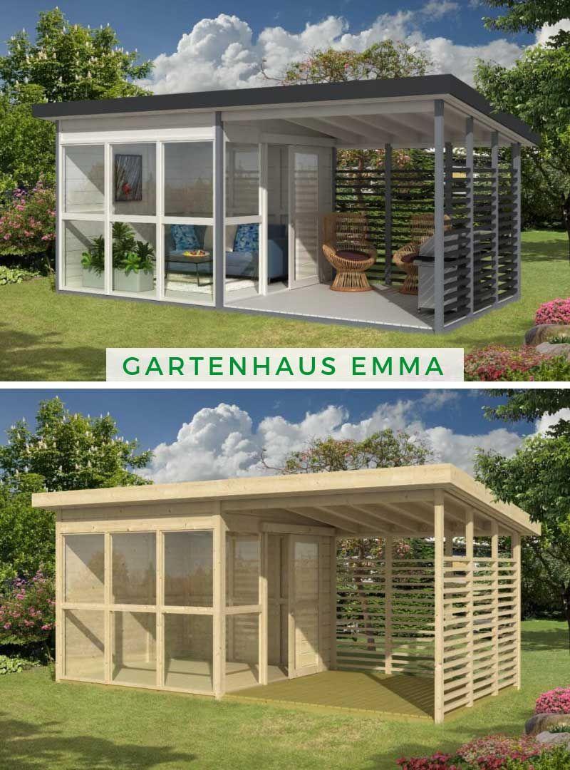 Gartenhaus Emma mit Veranda in 2020 Gartenhaus pultdach