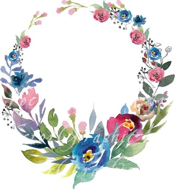 Floral Round Frame. Watercolor floral clipart - 1 Frame ...