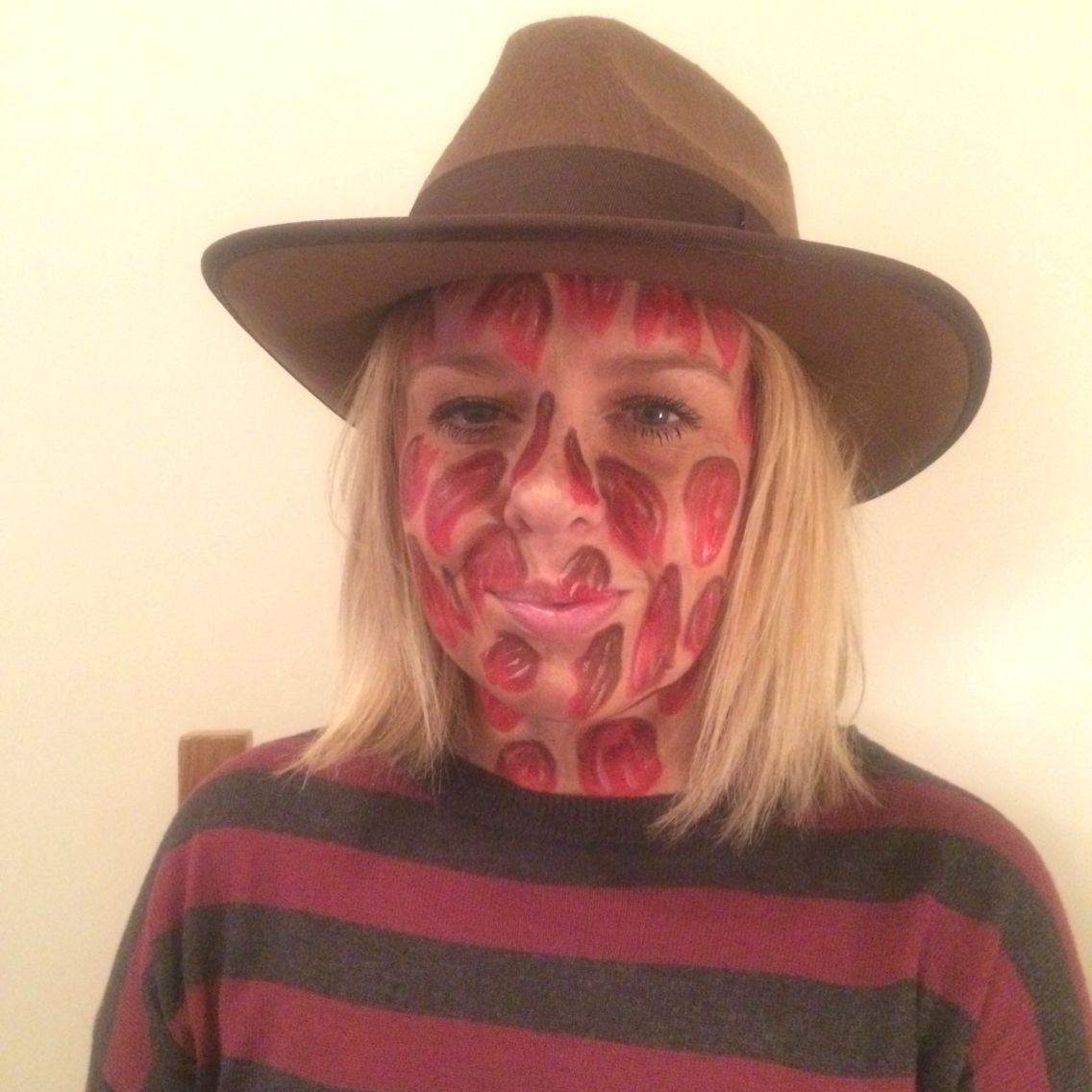 Freddy Krueger face paint and eyeshadow only, for a Halloween ...