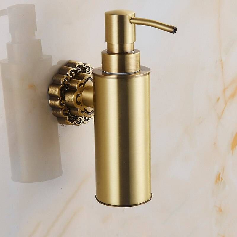 Photo of Liquid soap dispenser Antique brass shampoo Wall mounted soap dispenser Liquid soap holder Bathroom accessories 10704F