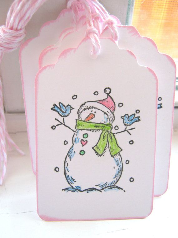 Snowman Gift Tags Christmas Gift Tags Pink and by CharonelDesigns, $3.95
