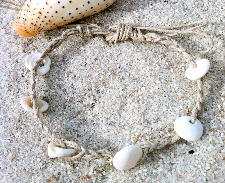 Hemp Bracelet Or Anklet With Puka Shells