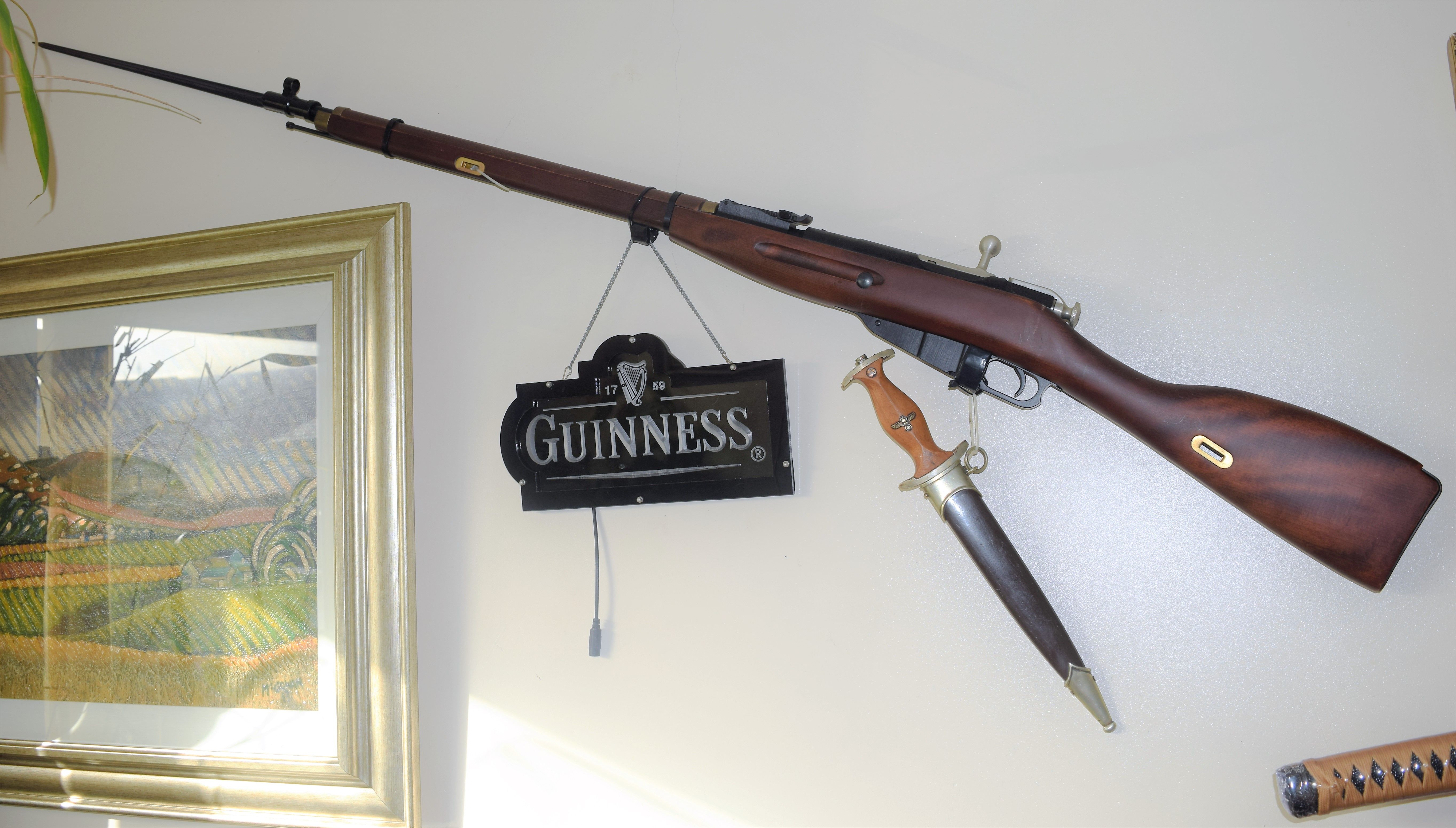 My living room wall with Mosin Nagant WW2 Russian Rifle  A super