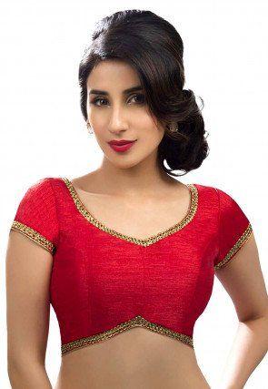 fa3b4dd68c9161 Plain Art Silk Blouse in Red