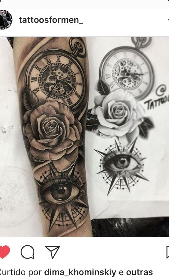 Clock Eye Rose Tattoo Tatuagem Masculina Tatuagem Masculina