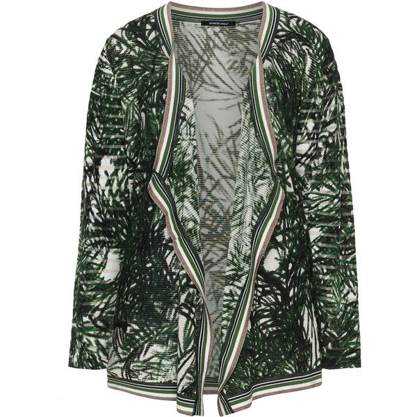 Elena Miro Dark-Green / White Plus Size Palm print open front cardigan ($200) ❤ liked on Polyvore featuring tops, cardigans, plus size, white long sleeve cardigan, plus size long sleeve tops, long sleeve cardigan, long sleeve open front cardigan and white long sleeve top