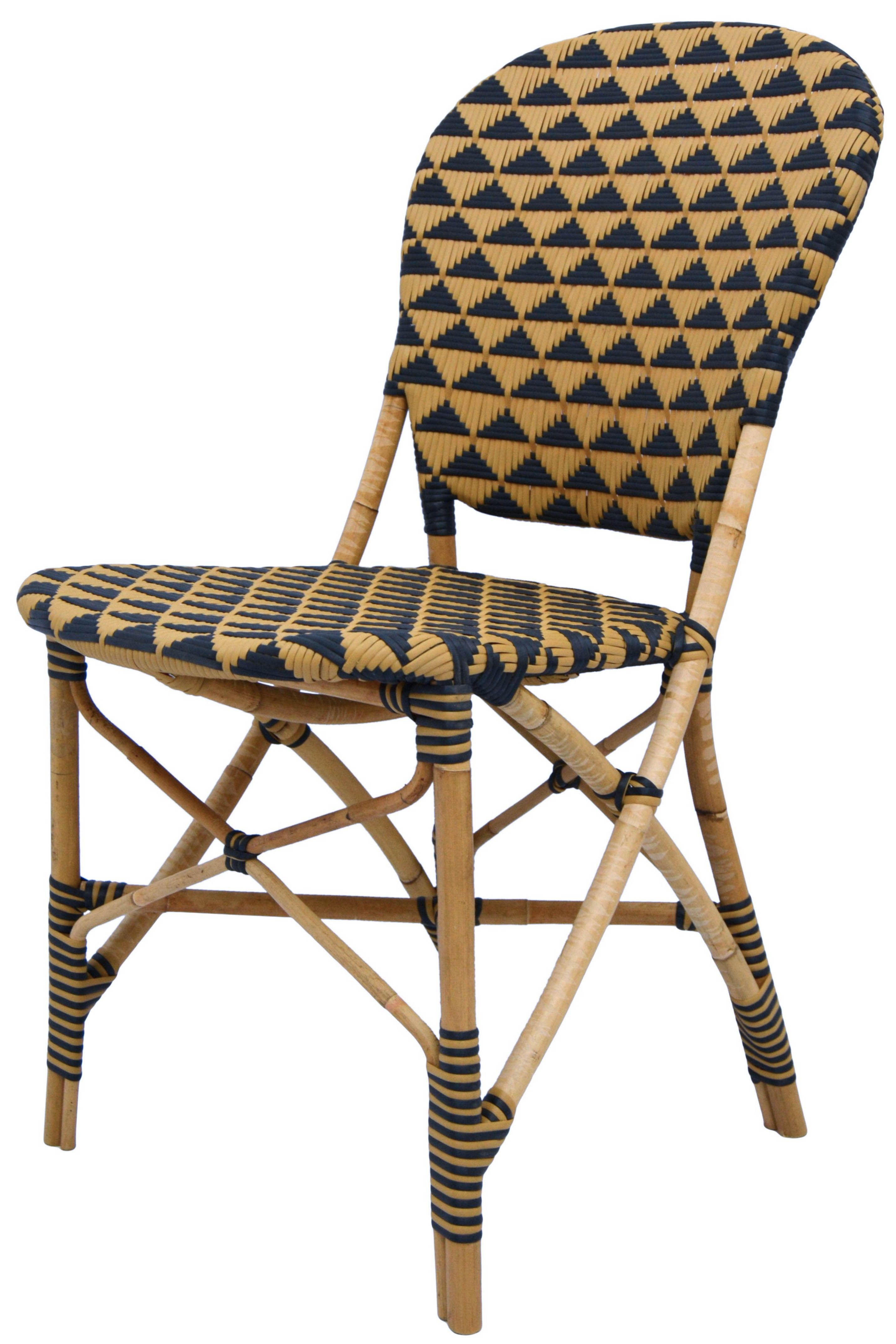 Theyla Indoor Outdoor Dining Chair Natural And Black Outdoor Side Chairs Side Chairs Rattan Chair