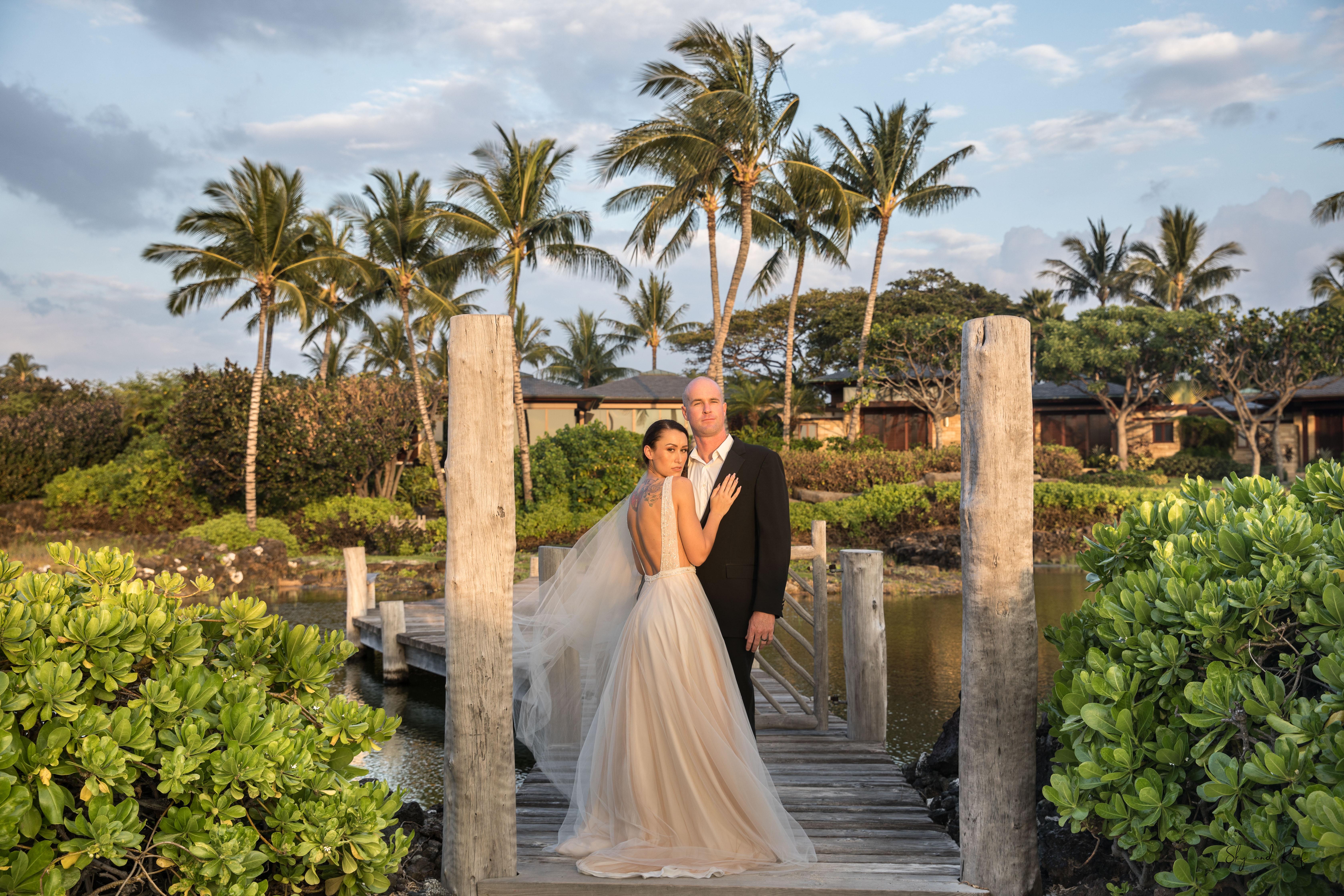Four seasons hualalai luezu bridal gown hawaii luxury wedding