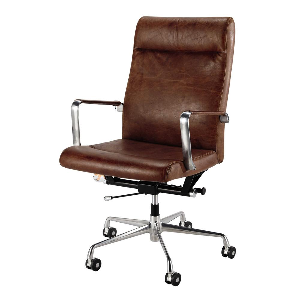 Burostuhl Auf Rollen Aus Braunem Leder Und Metall Office Chair Wheels Home Office Chairs Brown Leather Chairs