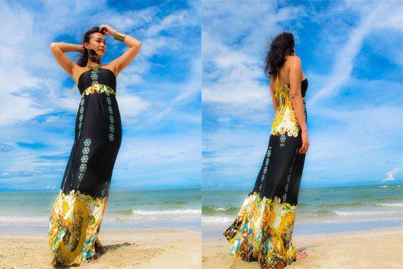 Black yellow halter  Beach evening long maxi Sun by Onumadress, ฿1150.00