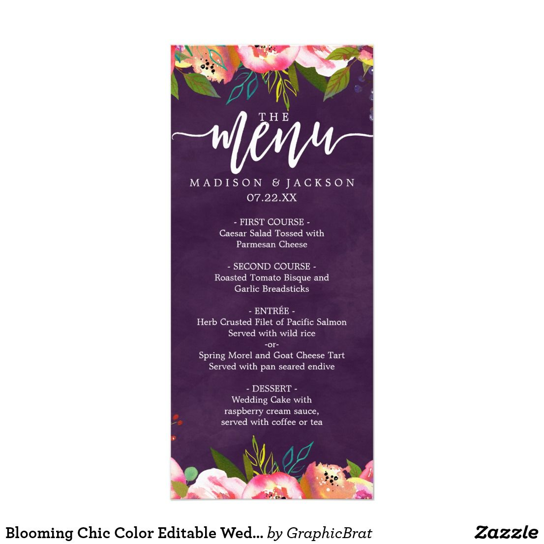 Blooming Chic Color Editable Wedding Menu Blooming Chic Color ...