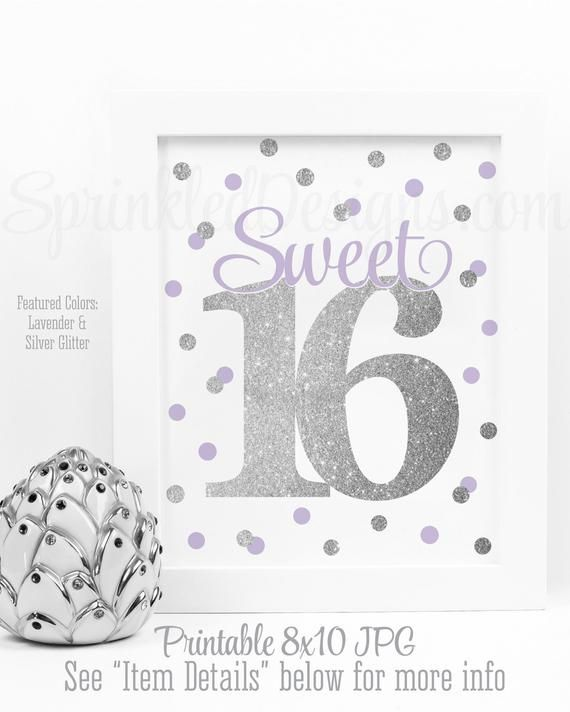 Sweet 16 Decoration, Sweet 16 Sign, Sweet 16 Centerpieces, Printable Sweet Sixteen 16th Birthday Lav #sweet16centerpieces