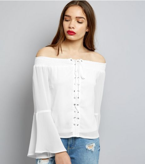 ea9ee6301f3fa Parisian White Eyelet Lace Up Front Bardot Neck Top
