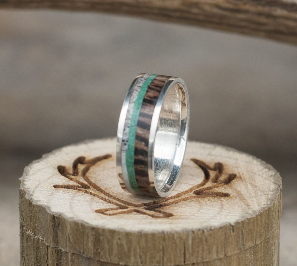 Pictured Is A Handmade Zebra Wood Elk Antler And Turquoise Wedding Ring Additional