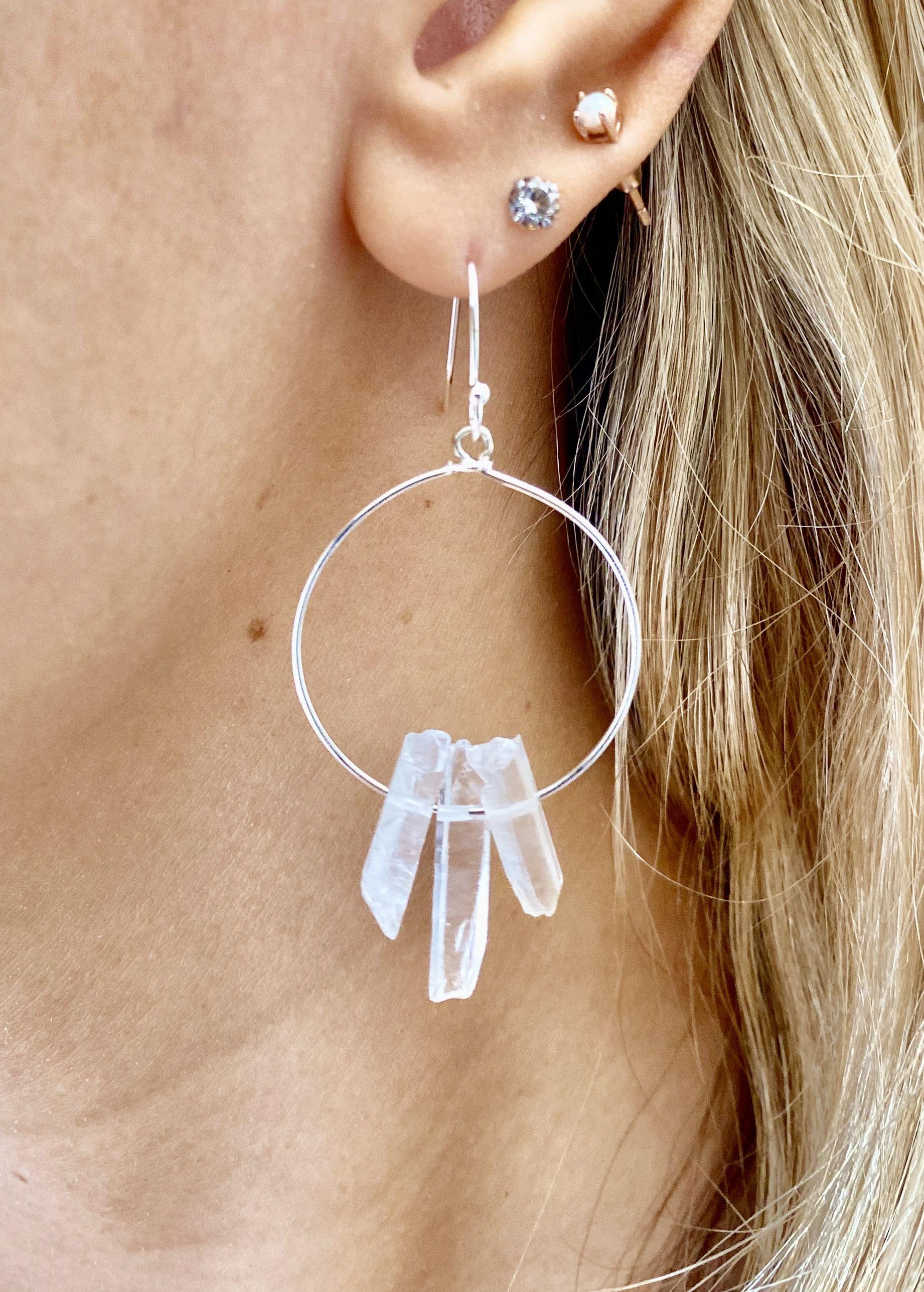 Quartz Hoop Earrings Minimalist Quartz Earrings Gold Minimalist Earrings Dainty Quartz Hoops. Long Gold Earrings Quartz Dangle Earrings