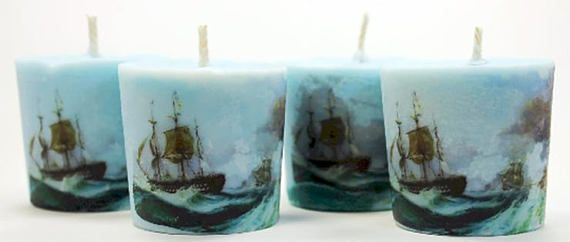 Nautical Decor Peppermint Vanilla Scented Candles Soy