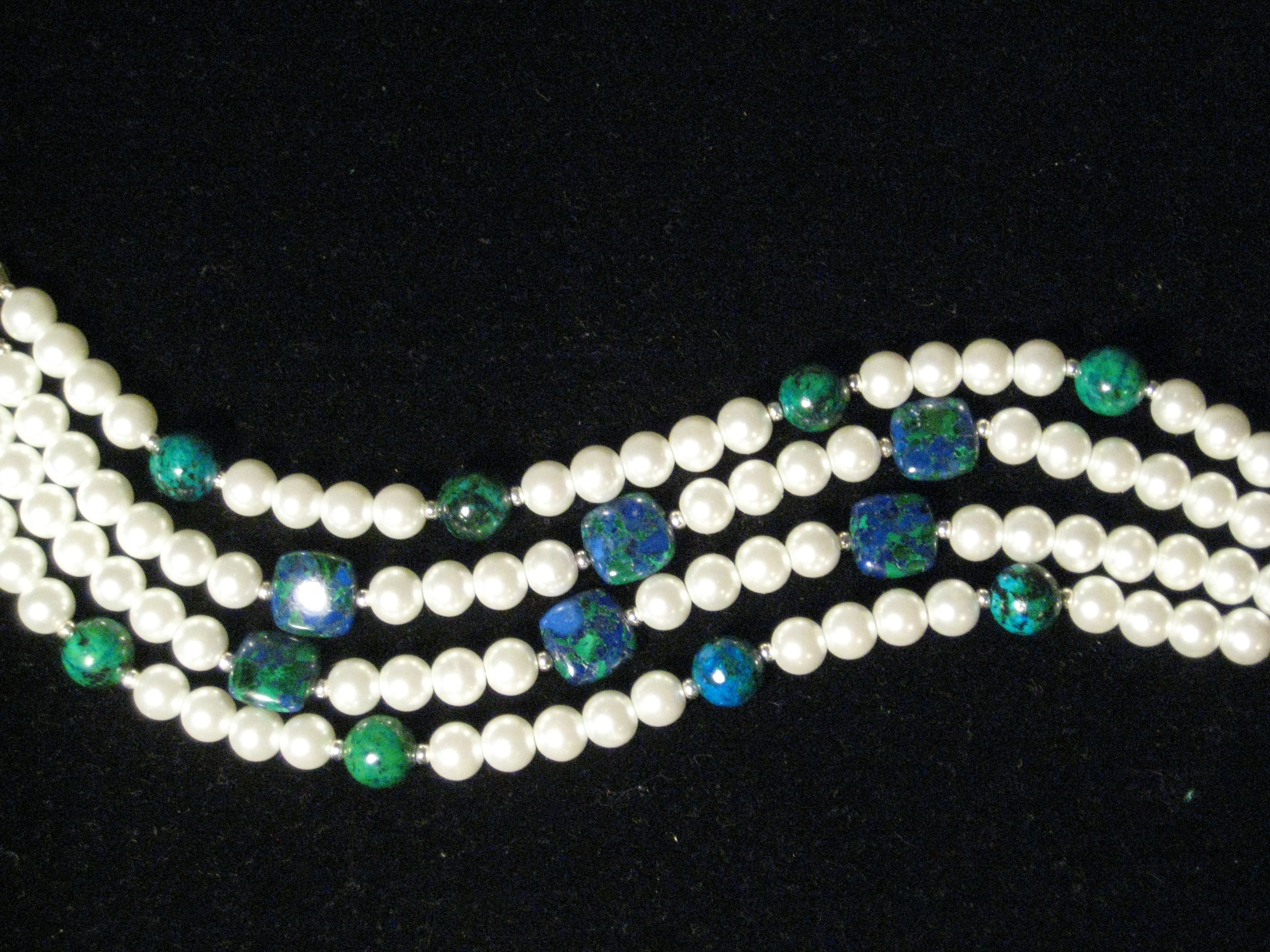 This is Azurite and White glass pearls and small silver spacers $35.00 plus shipping. This will make heads turn!!Very eye catching colors together!