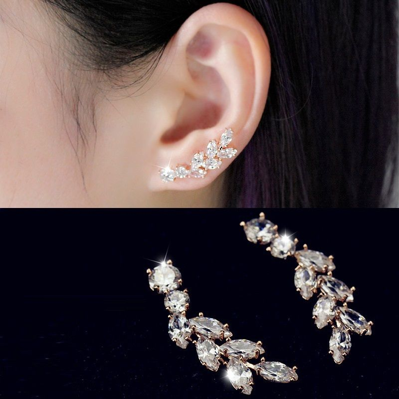 aaa zirconia leaf design ear cuff earrings for women fashion fine jewelry  wholesale gift for girls