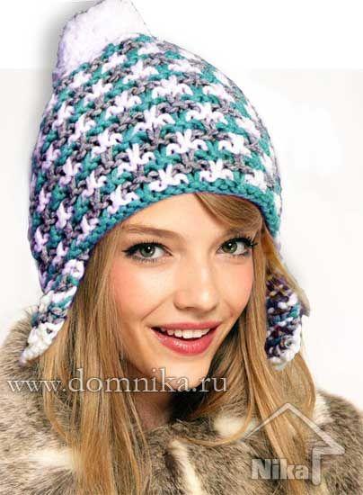 вязаная шапка с ушками спицами схема Hat шапочка вязание и