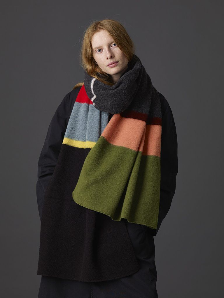7034f2abcfa55 Uneven Stripe Brushed Blanket Scarf | Jo Gordon AW 2018 | Blanket ...