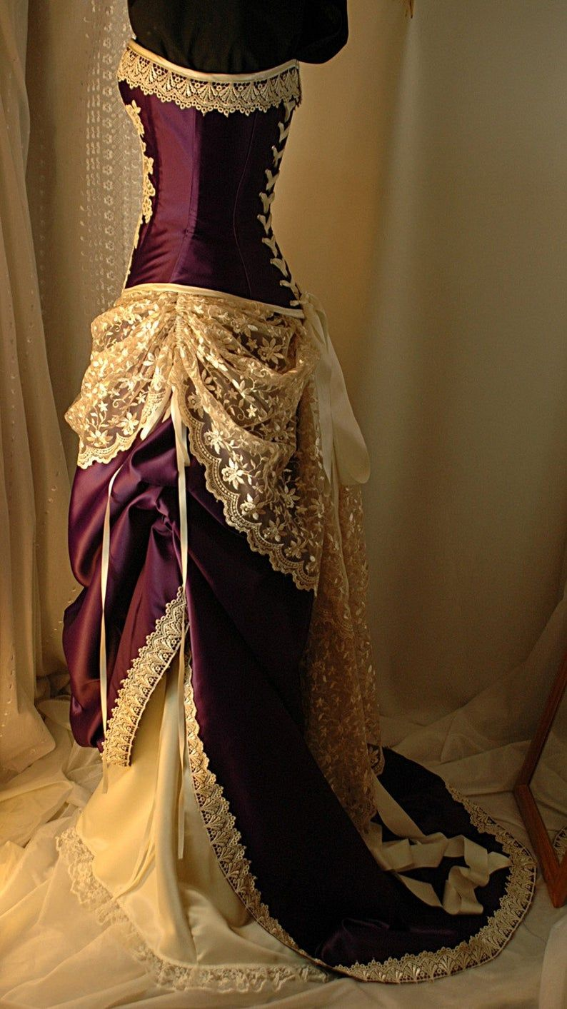 Juliet Cadbury Purple and Ivory Bridal Gown with steel
