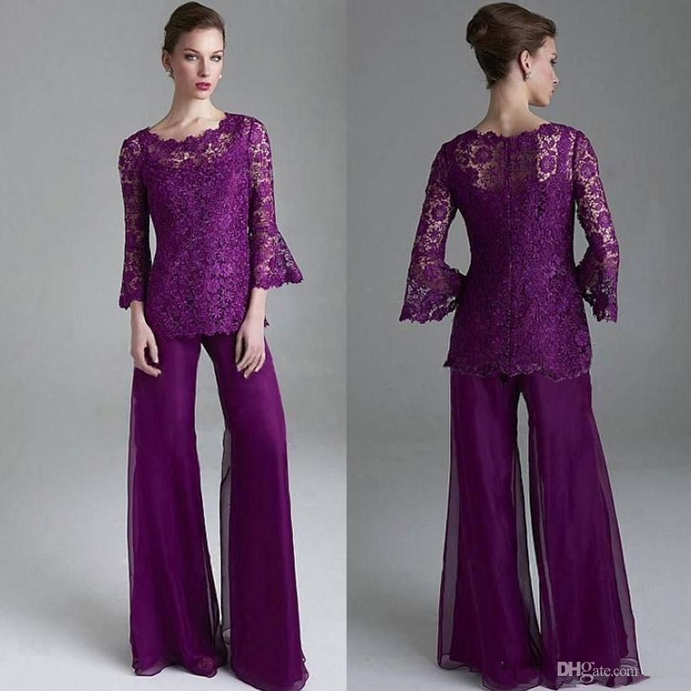 Classy Purple Lace Mother Of The Bride Pant Suits Sheer Jewel Neck ...