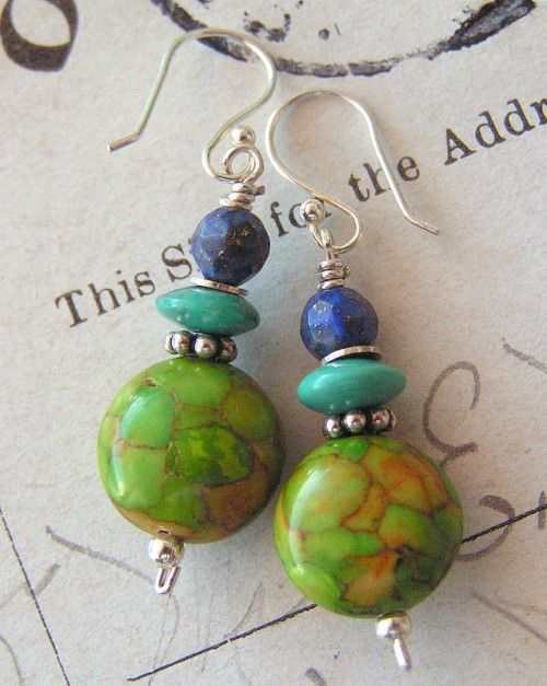 Tiny+Earth+-+No3+/+Lime+Turquoise,+Lapis,+Turquoise,+Sterling