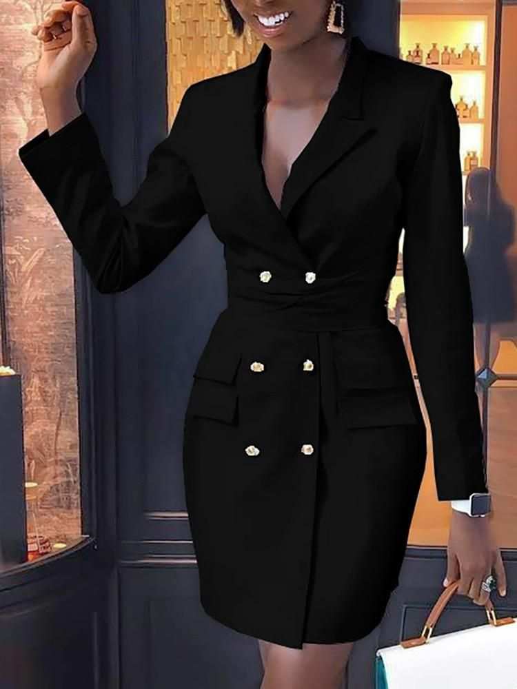 Elegant Blazer Dress Women Double Breasted Casual Dress