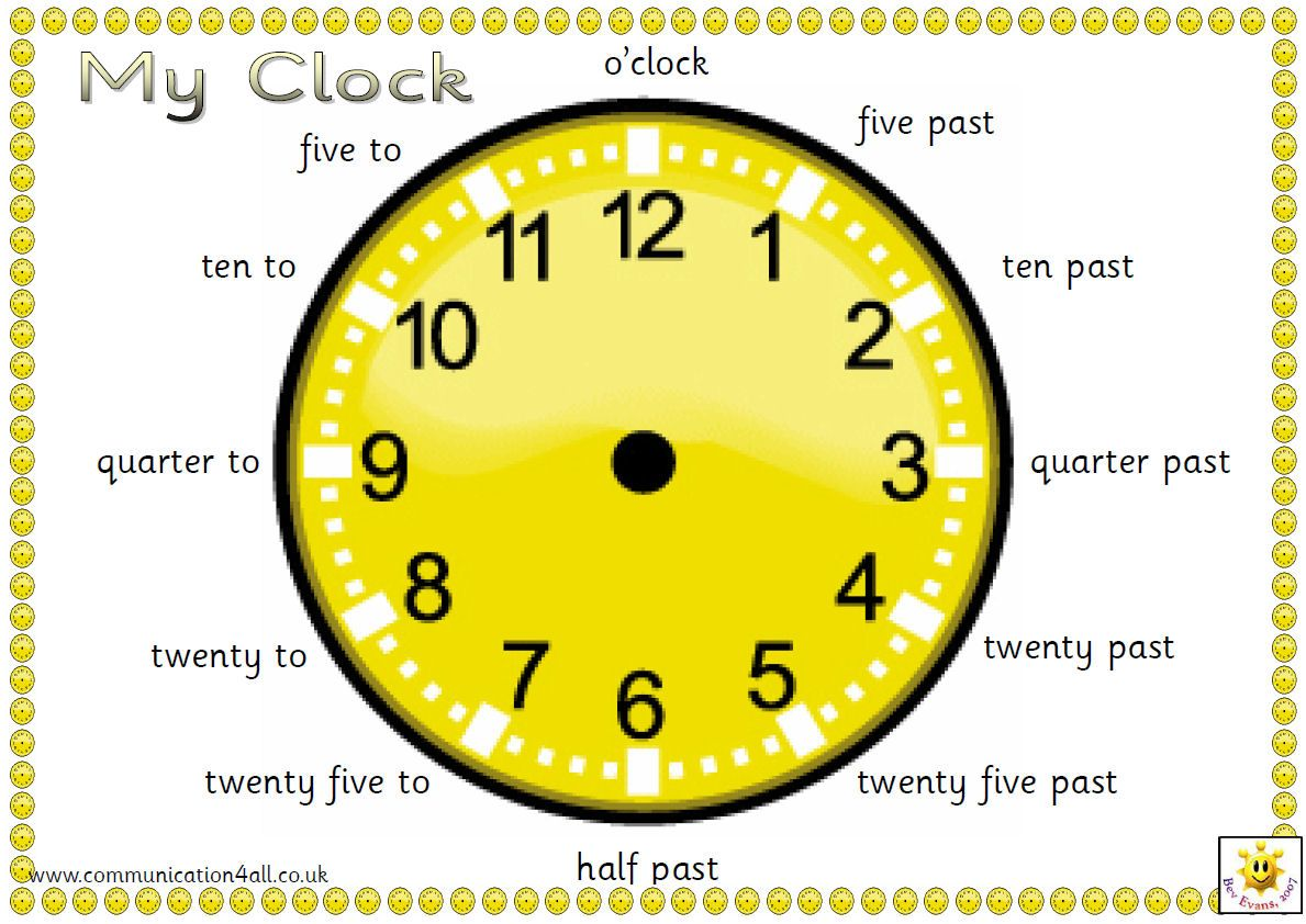 An A4 pdf containing 4 different clock faces with captions in ...