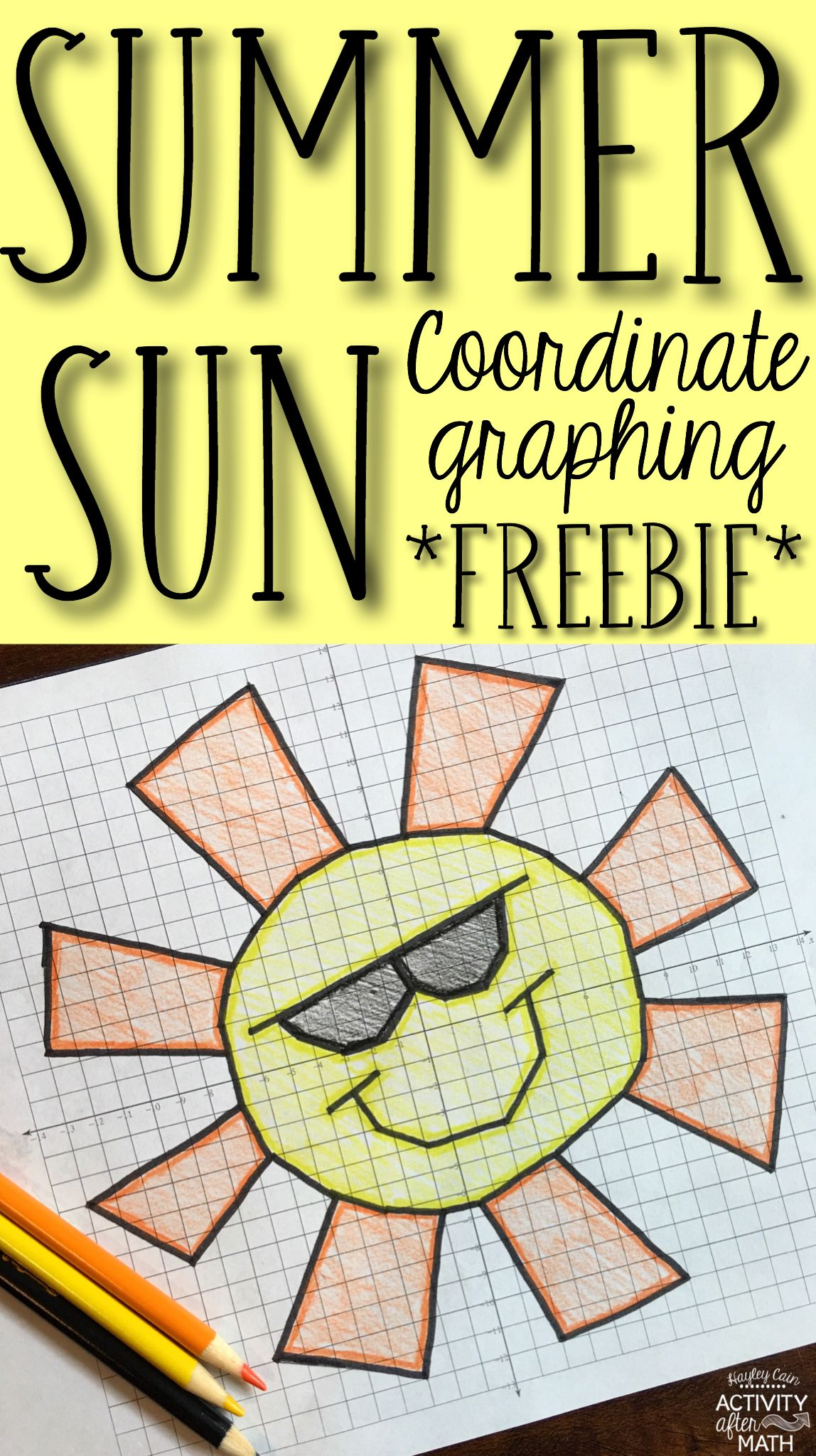 Spring Break Sun Coordinate Graphing Picture Freebie With
