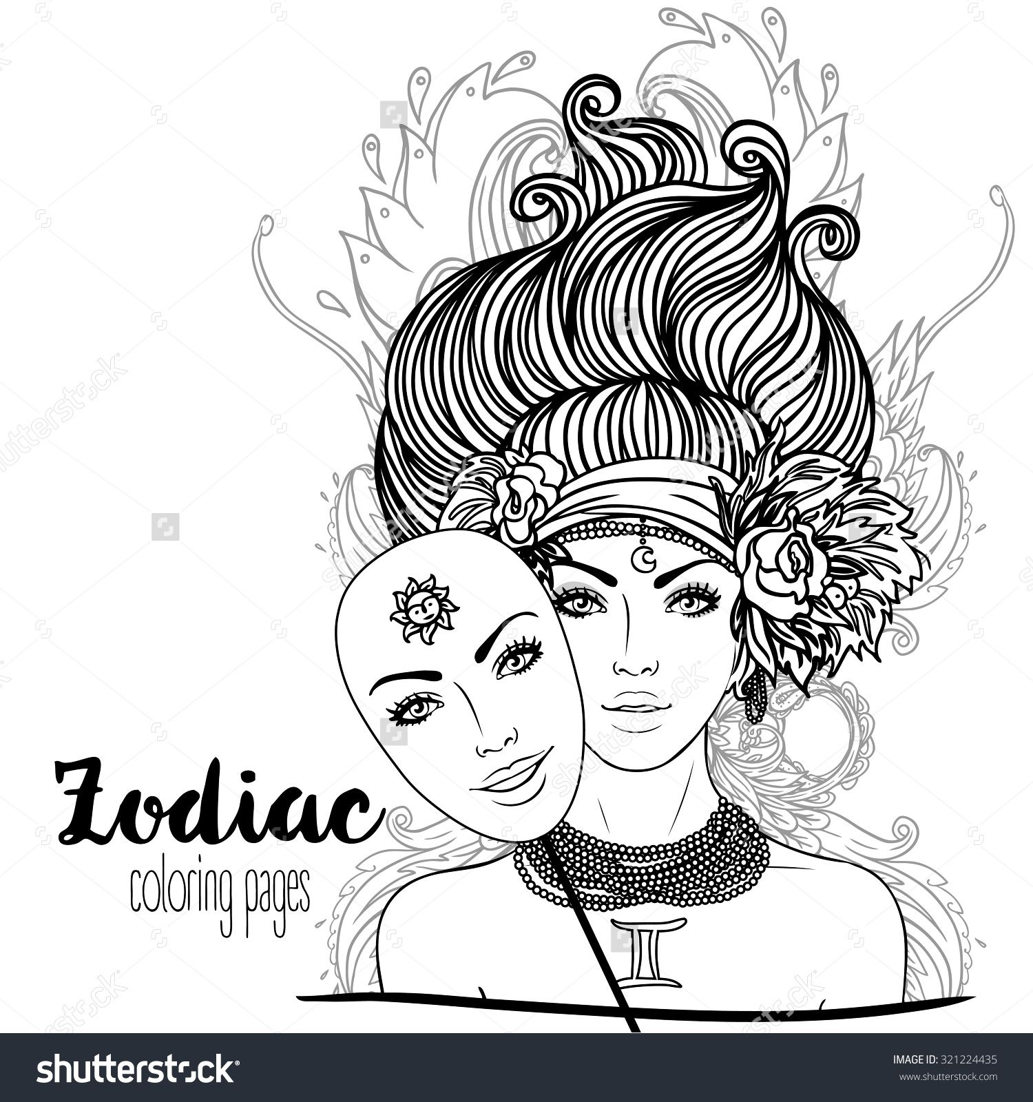 Zodiac Illustration Of Gemini Zodiac Sign As A Beautiful