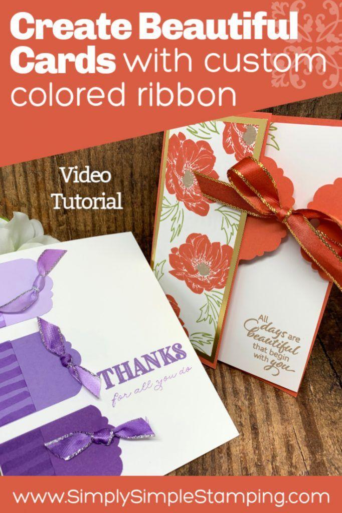 2 beautiful greeting cards handmade with custom ribbon