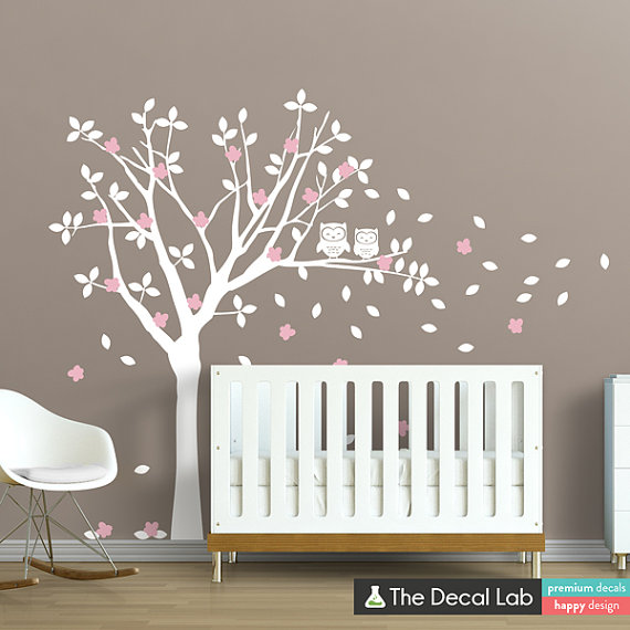 Hiboux en sticker mural arbre ensemble  Nursery Wall par DecalLab