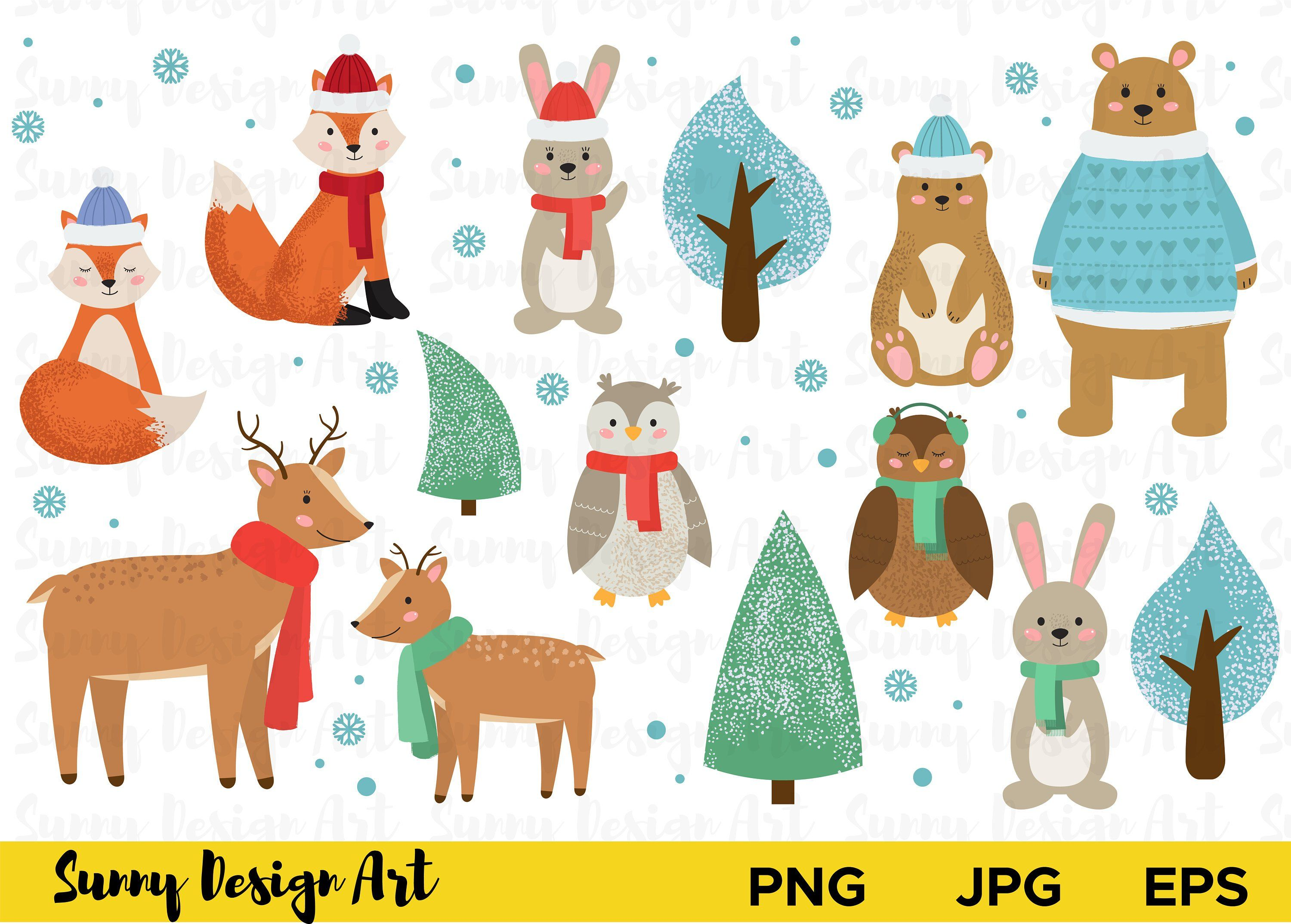Winter animals clipart Cute Forest animals vector Woodland