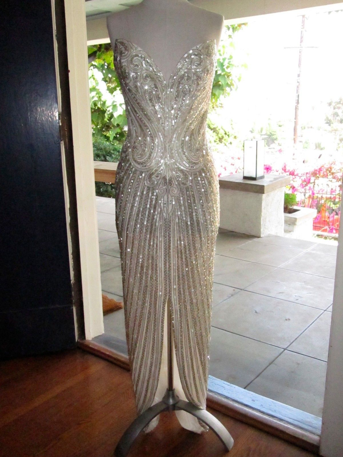 VTG BOB MACKIE sequin beaded sweetheart gown dress wedding prom maxi ...