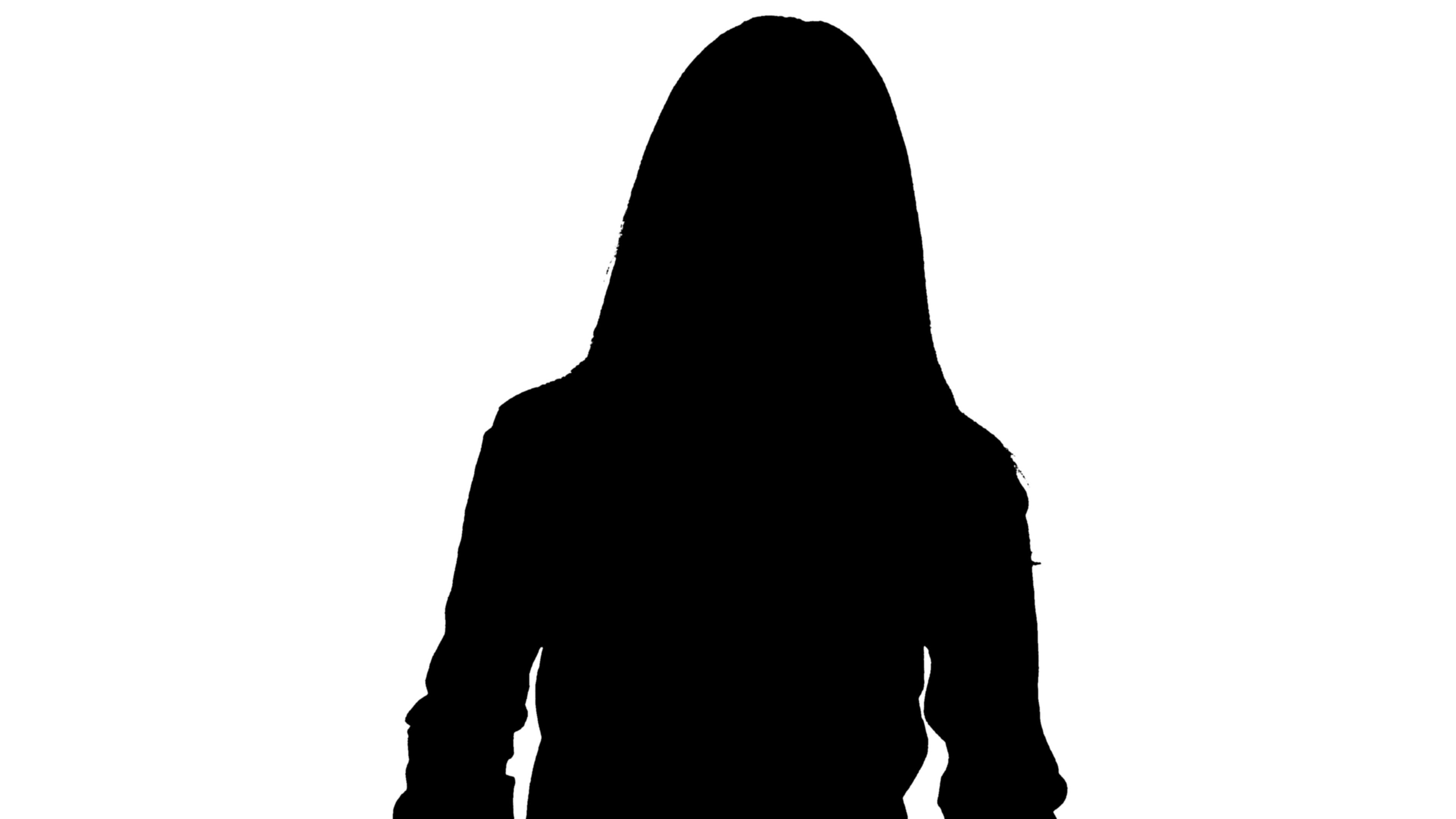 Silhouette of woman 4K footage with alpha channel Stock Footage
