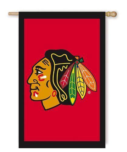 Nhl Chicago Blackhawks 28 X 44 Double Sided Applique Flag
