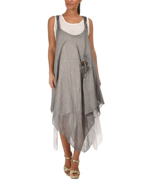 Look at this Etienne Marcel Gray & White Linen Handkerchief Dress on #zulily today!