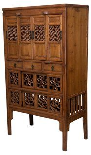 Early 20th C. Chinese Fretwork Cabinet