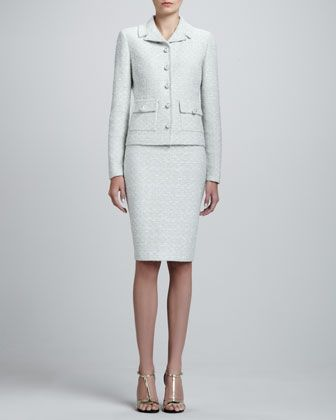 Crystalline Tweed Variegated Jacket & Pencil Skirt by St. John Collection at Neiman Marcus.