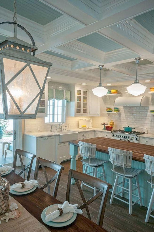 20 Elegant Beach Coastal Style Kitchen Decor Ideas Beach Cottage Kitchens Cottage Kitchen Design Beach House Interior