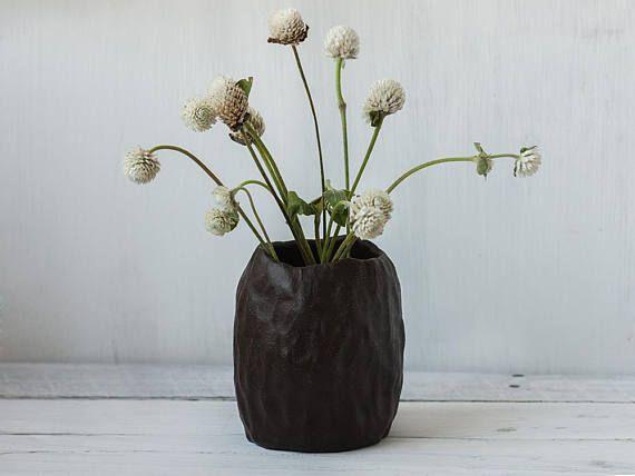 Rustic Brown Vase Matte Clay Vase Dark Chocolate Japanese Pottery Gift For Her Wabi Sabi Ceramics Brown Vase Clay Vase Wabi Sabi