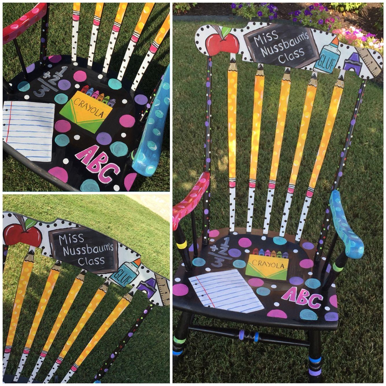 Hand painted rocking chair teacher rocking chair https