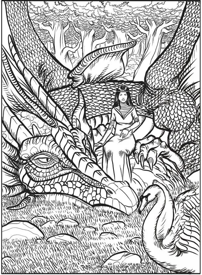 Dover - Dragon and Woman | coloring wee | Pinterest