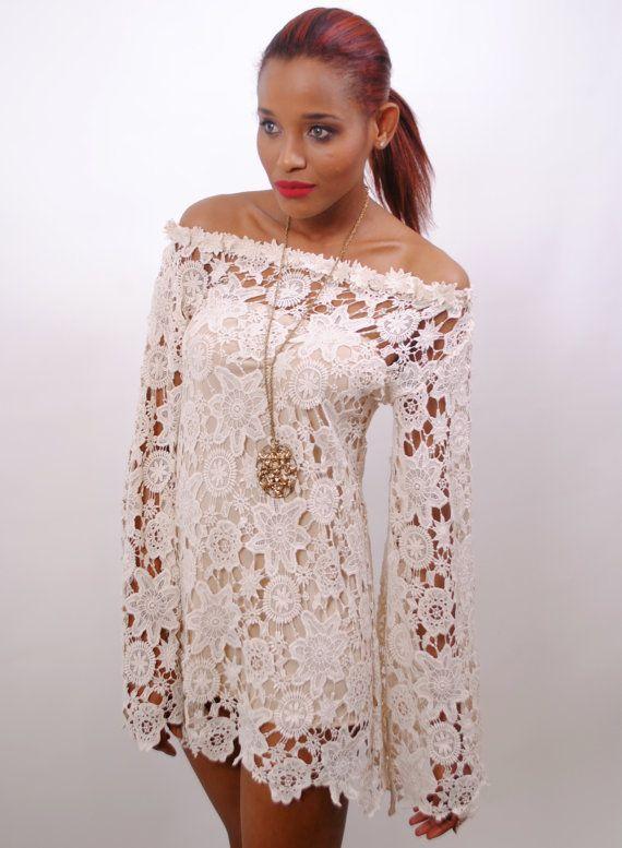 BELL SLEEVE crochet lace dress / off shoulder neckline / boho hippie  wedding mini dress / vintage inspired style