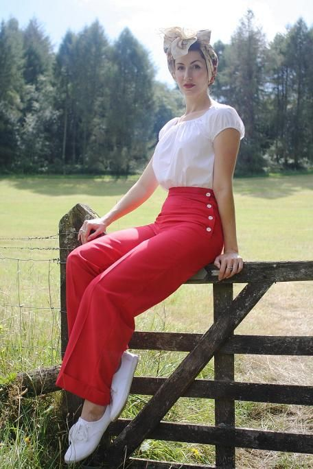 1940s Fashions In Red White Blue With Images: Ladies 1940's Style Swing Trousers (Red)