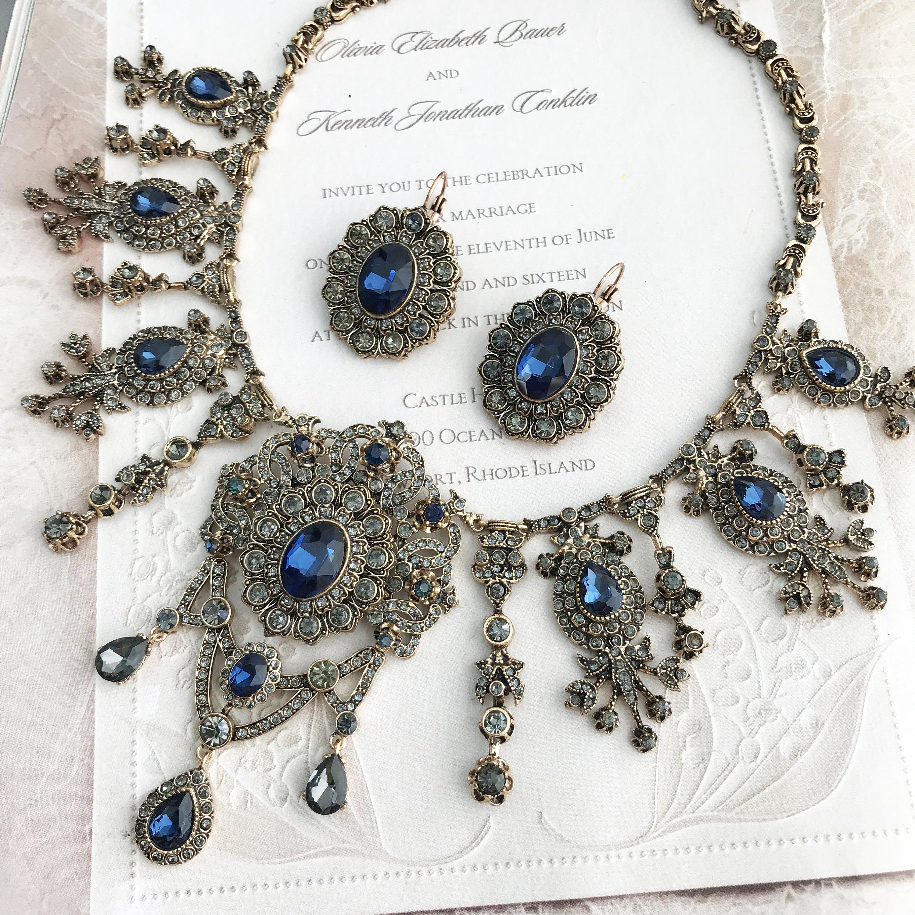 Gothic Jewelry Bridal Jewelry Set Sapphire Blue Jewelry Bronze Antique Gold Necklace Earrings Bracelet,Vintage Inspired Victorian Jewelry