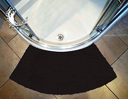 Cazsplash Luxury Quadrant Curved Black Shower Mat Medium