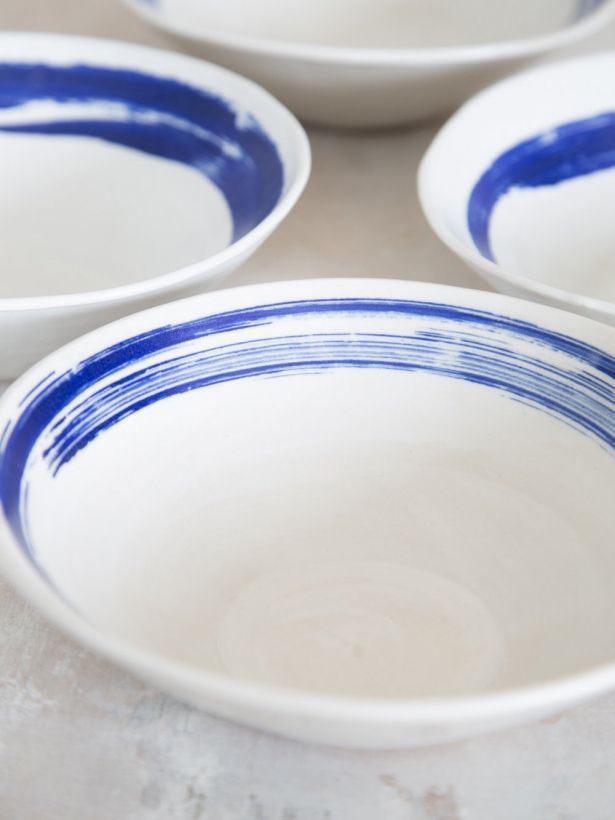 Set Of 2 Greek Style Handmade Ceramic Serving Bowls With Blue ...